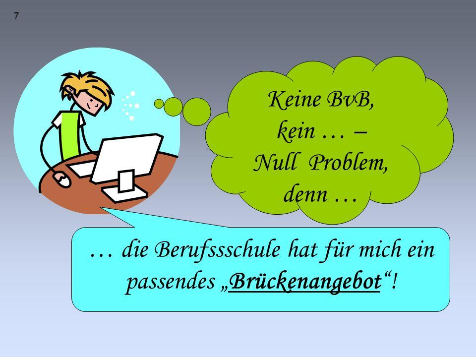 """7 Keine BvB, kein … – Null Problem, denn … … die Berufssschule hat für mich ein passendes """"Brückenangebot !"""