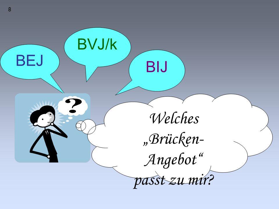 """8 BEJ BVJ/k BIJ Welches """"Brücken- Angebot passt zu mir"""