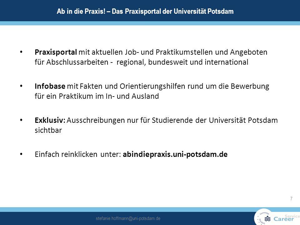Praxisportal mit aktuellen Job- und Praktikumstellen und Angeboten für Abschlussarbeiten - regional, bundesweit und international Infobase mit Fakten