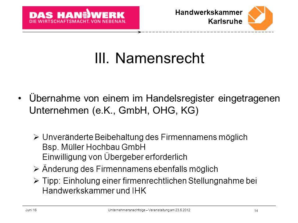Handwerkskammer Karlsruhe III.