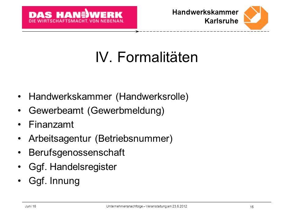 Handwerkskammer Karlsruhe IV.