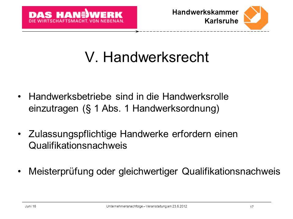Handwerkskammer Karlsruhe V.