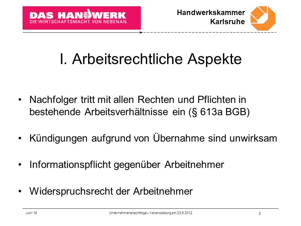 Handwerkskammer Karlsruhe Juni 16 Unternehmensnachfolge – Veranstaltung am 23.5.2012 3 I.