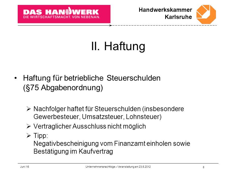 Handwerkskammer Karlsruhe II.