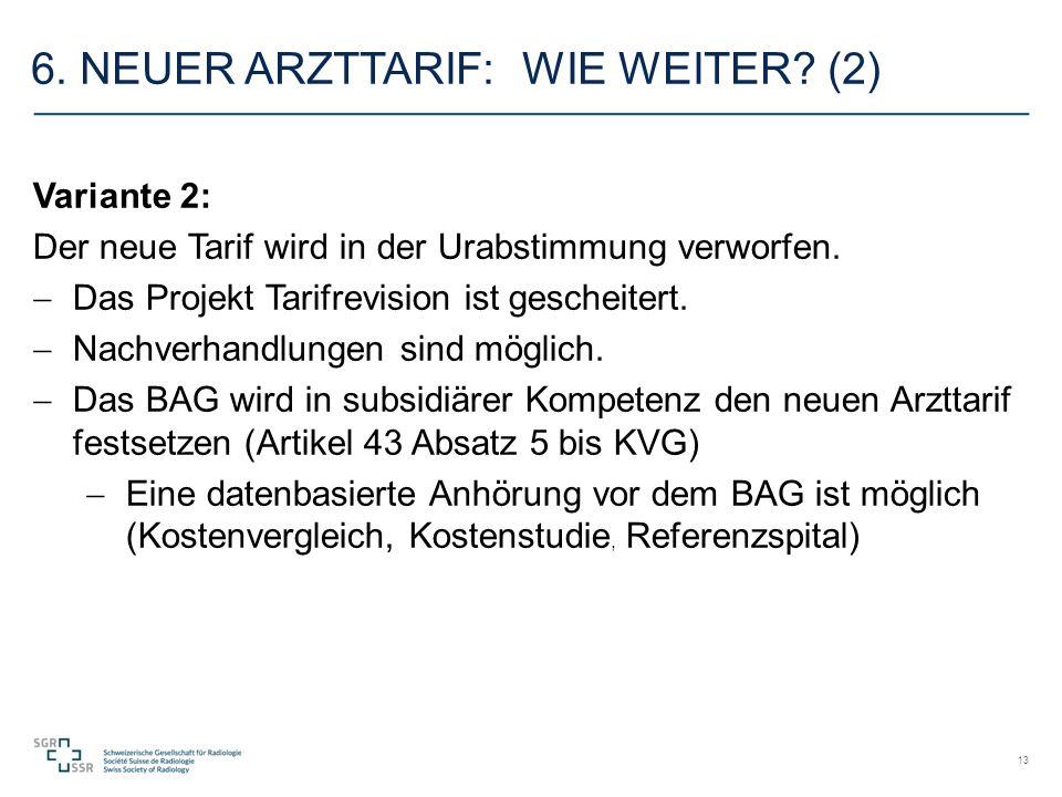 6. NEUER ARZTTARIF: WIE WEITER. (2) Variante 2: Der neue Tarif wird in der Urabstimmung verworfen.