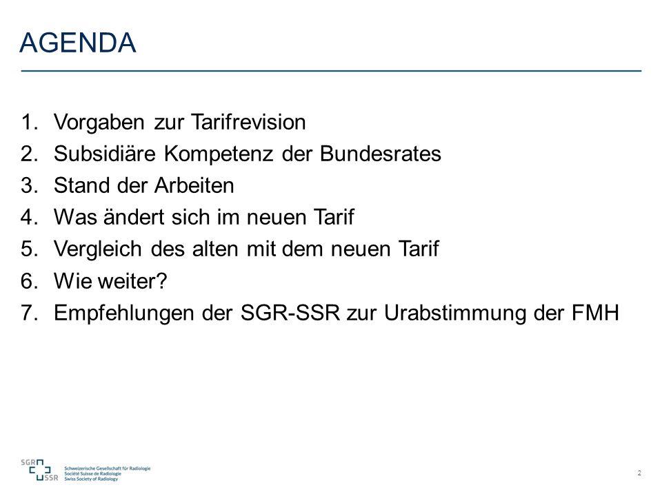AGENDA 1.Vorgaben zur Tarifrevision 2.Subsidiäre Kompetenz der Bundesrates 3.Stand der Arbeiten 4.Was ändert sich im neuen Tarif 5.Vergleich des alten mit dem neuen Tarif 6.Wie weiter.