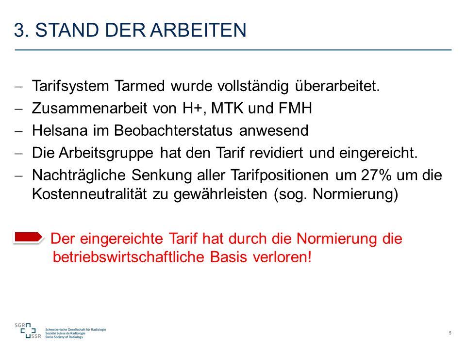 3. STAND DER ARBEITEN  Tarifsystem Tarmed wurde vollständig überarbeitet.