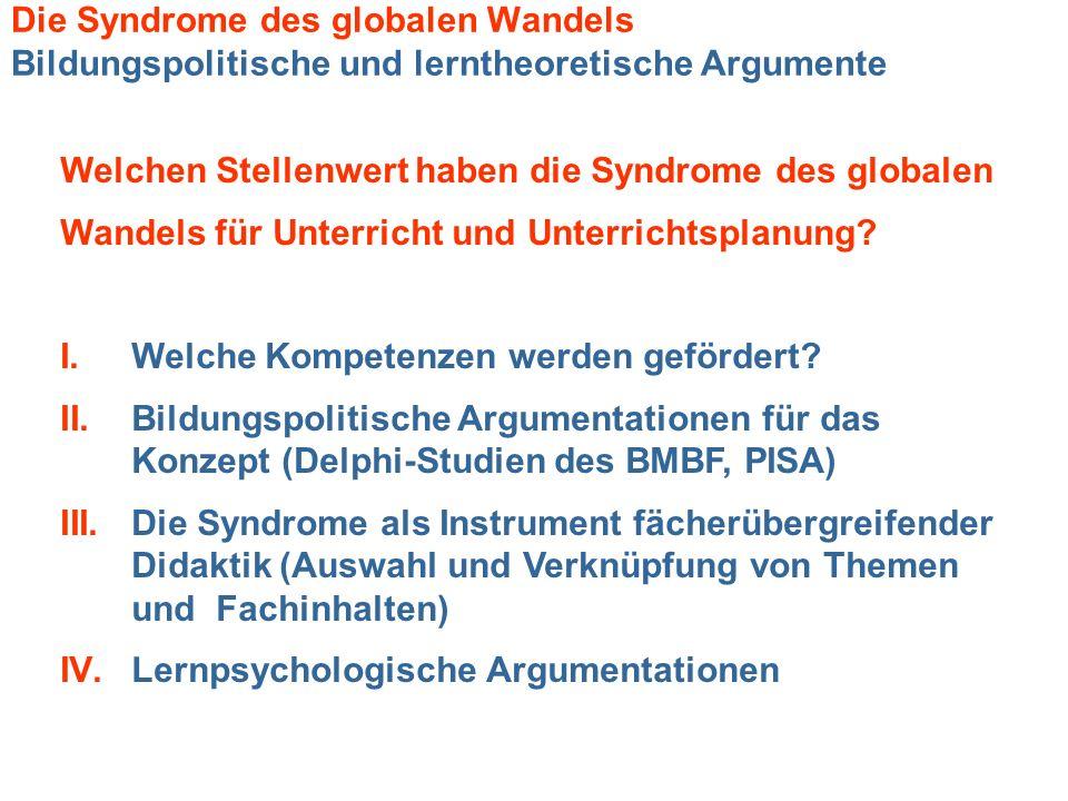 Die Syndrome des globalen Wandels Bildungspolitische und lerntheoretische Argumente Welchen Stellenwert haben die Syndrome des globalen Wandels für Un