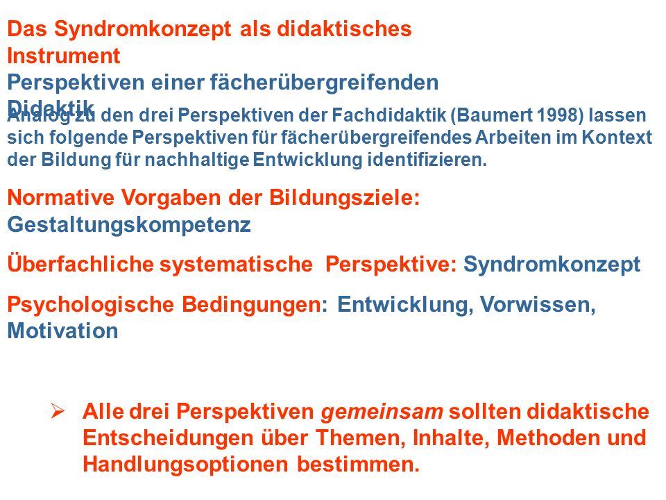 Analog zu den drei Perspektiven der Fachdidaktik (Baumert 1998) lassen sich folgende Perspektiven für fächerübergreifendes Arbeiten im Kontext der Bil