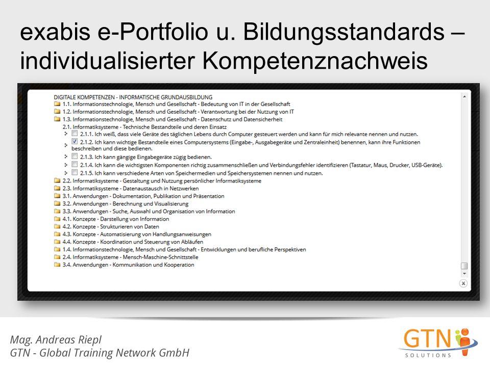 exabis e-Portfolio u. Bildungsstandards – individualisierter Kompetenznachweis