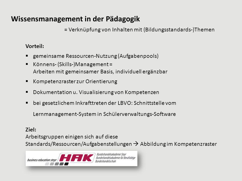 Vorteil:  gemeinsame Ressourcen-Nutzung (Aufgabenpools)  Könnens- (Skills-)Management = Arbeiten mit gemeinsamer Basis, individuell ergänzbar  Kompetenzraster zur Orientierung  Dokumentation u.