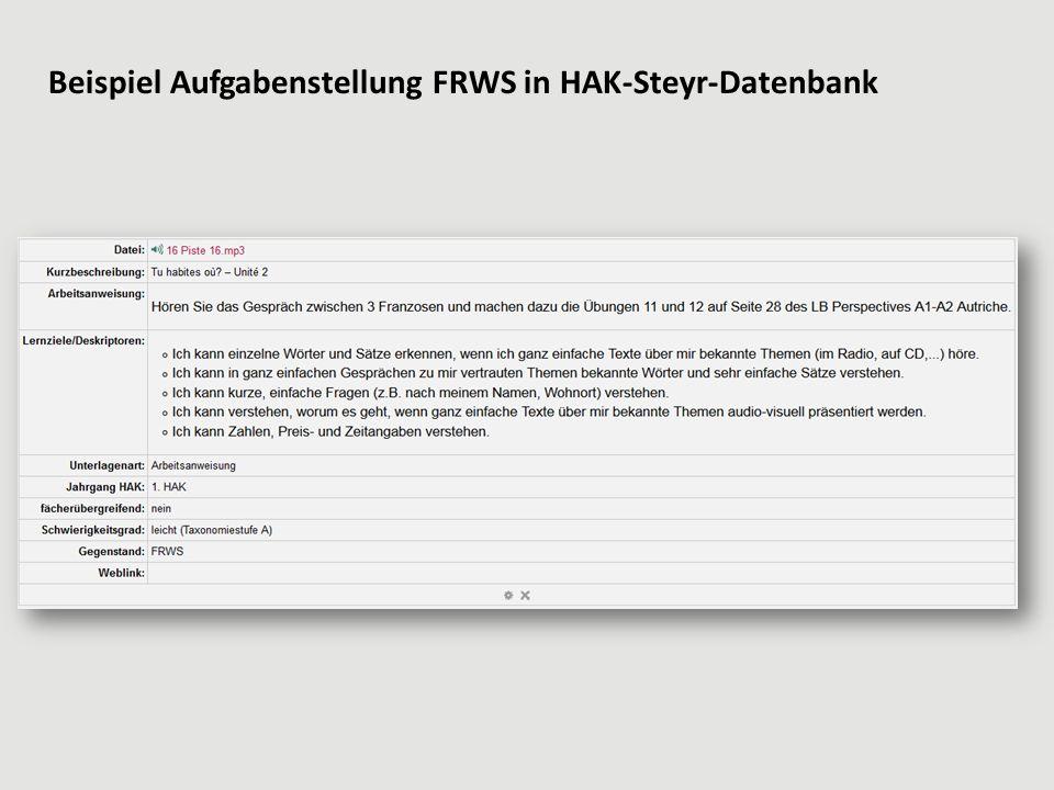 Beispiel Aufgabenstellung FRWS in HAK-Steyr-Datenbank