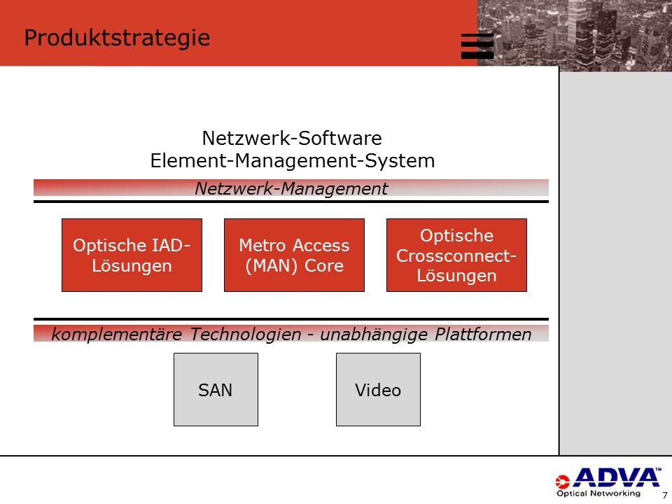 7 Produktstrategie Optische IAD- Lösungen Metro Access (MAN) Core Optische Crossconnect- Lösungen Netzwerk-Software Element-Management-System SANVideo Netzwerk-Management komplementäre Technologien - unabhängige Plattformen