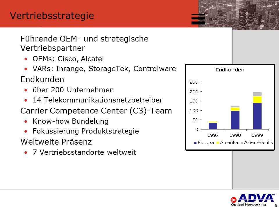 8 Vertriebsstrategie Führende OEM- und strategische Vertriebspartner OEMs: Cisco, Alcatel VARs: Inrange, StorageTek, Controlware Endkunden über 200 Unternehmen 14 Telekommunikationsnetzbetreiber Carrier Competence Center (C3)-Team Know-how Bündelung Fokussierung Produktstrategie Weltweite Präsenz 7 Vertriebsstandorte weltweit