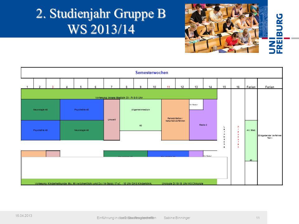 2. Studienjahr Gruppe B WS 2013/14 LehrbeauftragtentreffenEinführung in den 2.