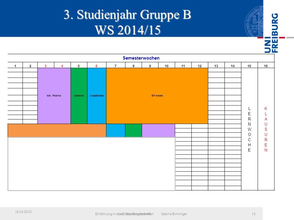 3. Studienjahr Gruppe B WS 2014/15 LehrbeauftragtentreffenEinführung in den 2.