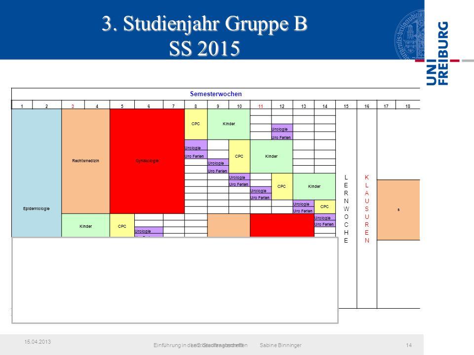 3. Studienjahr Gruppe B SS 2015 LehrbeauftragtentreffenEinführung in den 2.