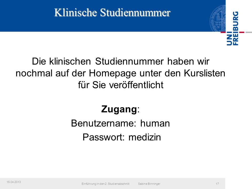 Klinische Studiennummer Einführung in den 2.