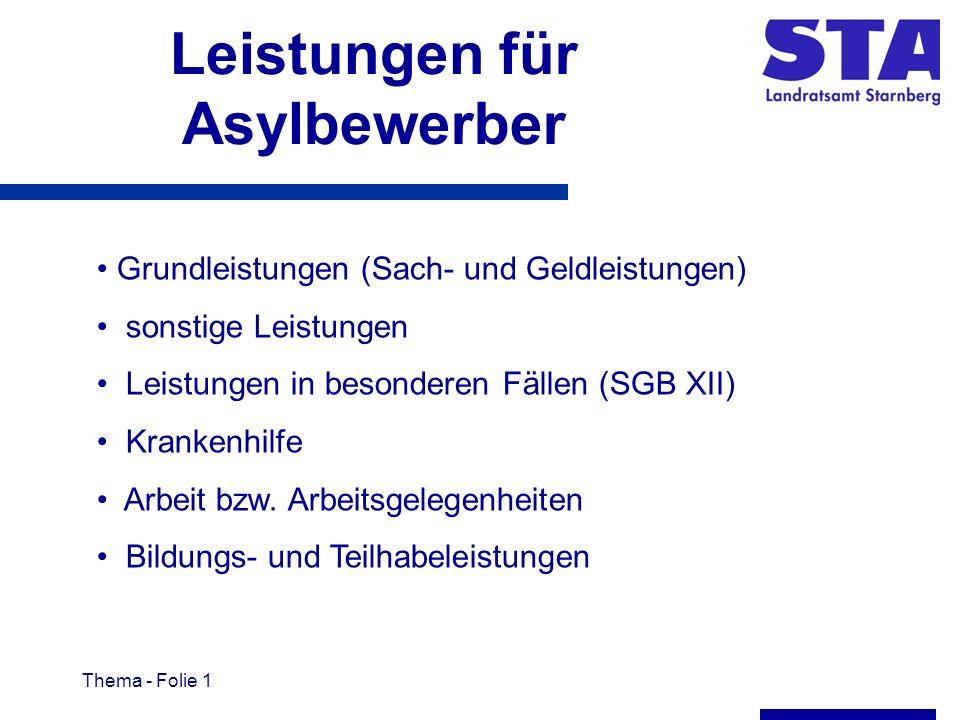 Thema - Folie 1 Leistungen für Asylbewerber Grundleistungen (Sach- und Geldleistungen) sonstige Leistungen Leistungen in besonderen Fällen (SGB XII) Krankenhilfe Arbeit bzw.