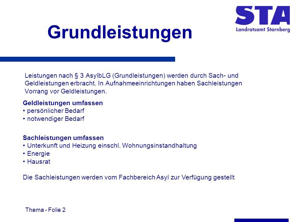 Thema - Folie 2 Grundleistungen Leistungen nach § 3 AsylbLG (Grundleistungen) werden durch Sach- und Geldleistungen erbracht.
