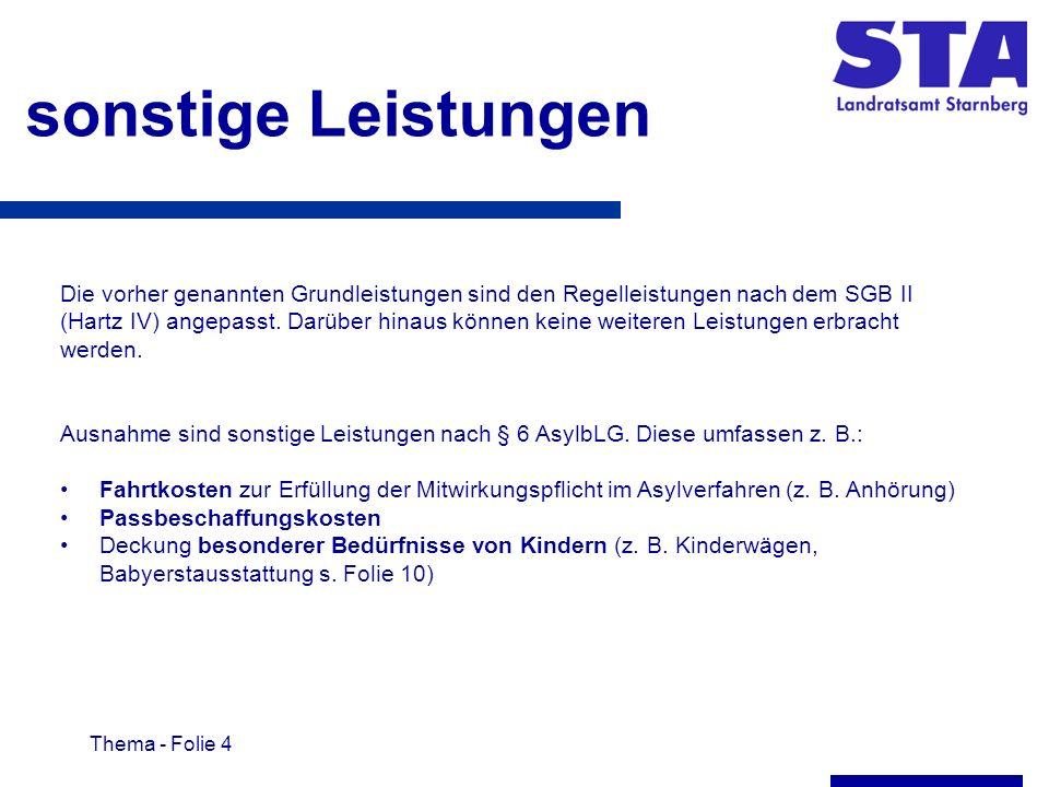 Thema - Folie 4 sonstige Leistungen Die vorher genannten Grundleistungen sind den Regelleistungen nach dem SGB II (Hartz IV) angepasst.