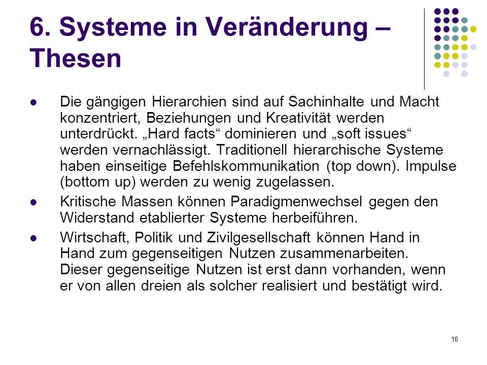 18 6. Systeme in Veränderung – Thesen Die gängigen Hierarchien sind auf Sachinhalte und Macht konzentriert, Beziehungen und Kreativität werden unterdr