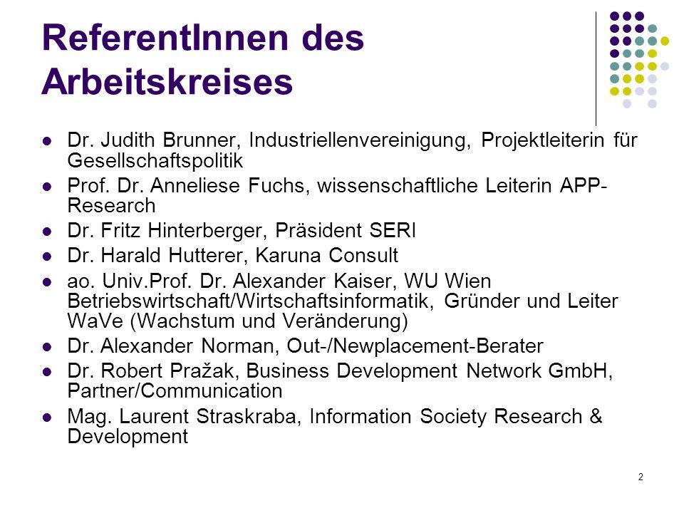 2 ReferentInnen des Arbeitskreises Dr. Judith Brunner, Industriellenvereinigung, Projektleiterin für Gesellschaftspolitik Prof. Dr. Anneliese Fuchs, w