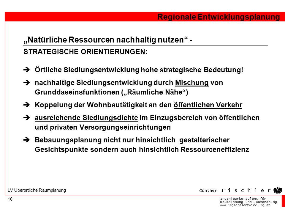Ingenieurkonsulentfür RaumplanungundRaumordnung www.regionalentwicklung.at Regionale Entwicklungsplanung 10 LV Überörtliche Raumplanung  Örtliche Siedlungsentwicklung hohe strategische Bedeutung.