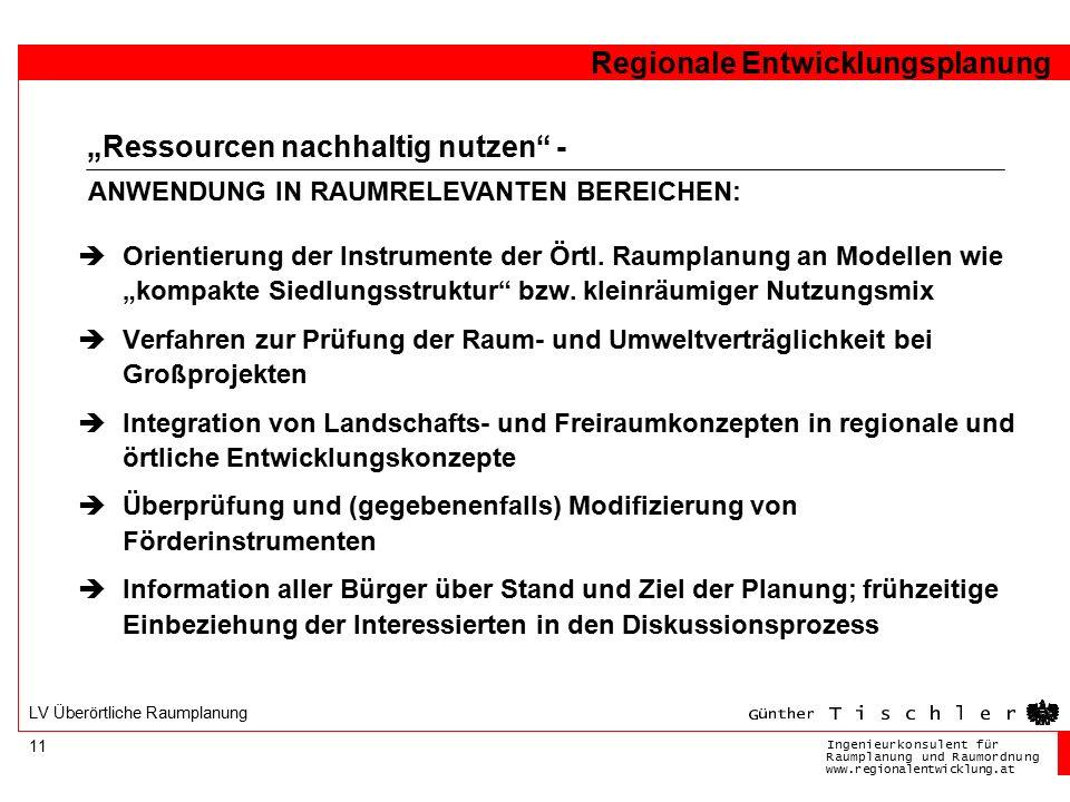 Ingenieurkonsulentfür RaumplanungundRaumordnung www.regionalentwicklung.at Regionale Entwicklungsplanung 11 LV Überörtliche Raumplanung  Orientierung der Instrumente der Örtl.