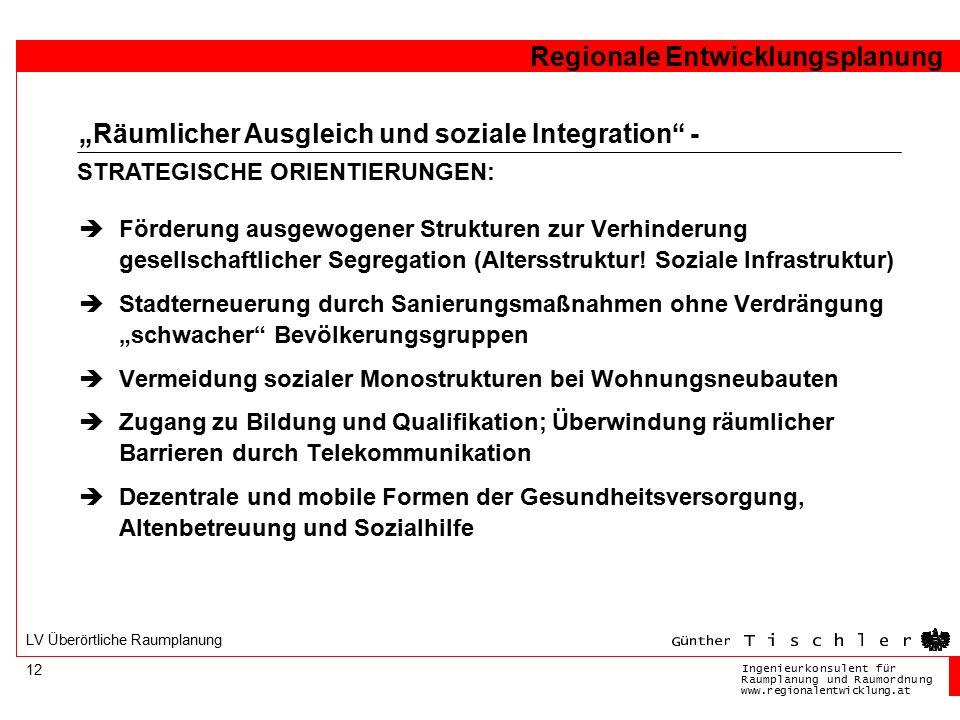 Ingenieurkonsulentfür RaumplanungundRaumordnung www.regionalentwicklung.at Regionale Entwicklungsplanung 12 LV Überörtliche Raumplanung  Förderung au