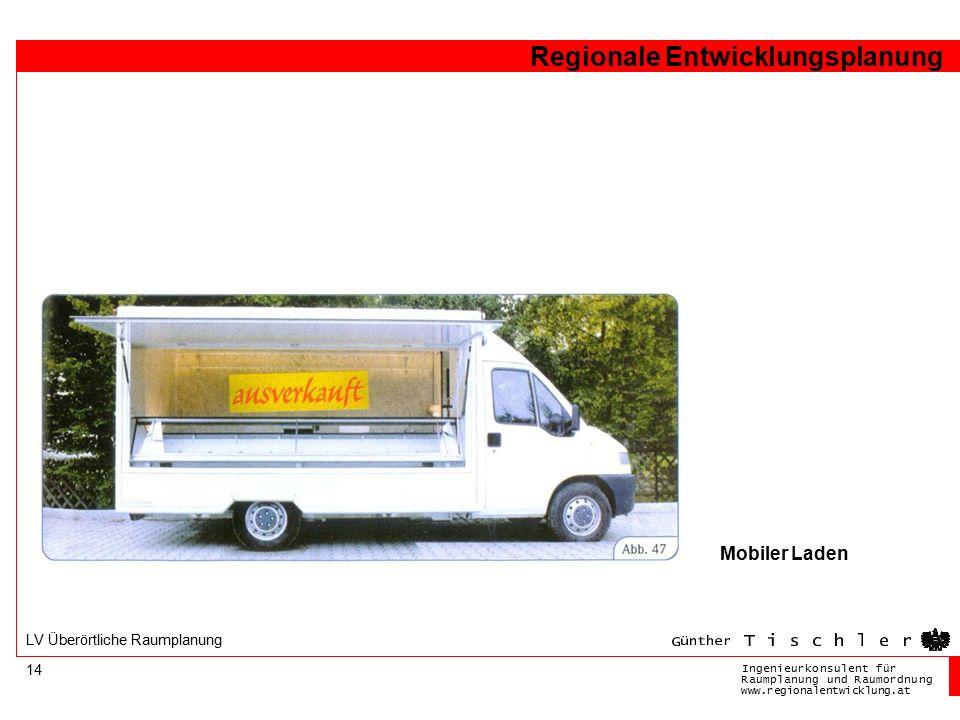 Ingenieurkonsulentfür RaumplanungundRaumordnung www.regionalentwicklung.at Regionale Entwicklungsplanung 14 LV Überörtliche Raumplanung Mobiler Laden