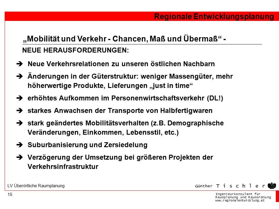 Ingenieurkonsulentfür RaumplanungundRaumordnung www.regionalentwicklung.at Regionale Entwicklungsplanung 15 LV Überörtliche Raumplanung  Neue Verkehr