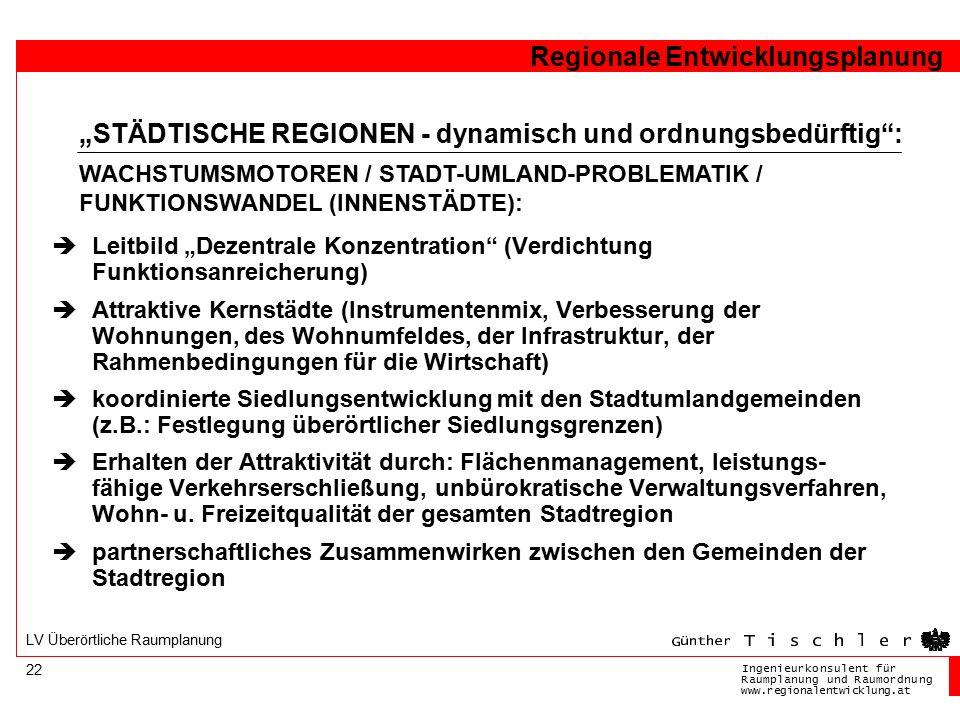 """Ingenieurkonsulentfür RaumplanungundRaumordnung www.regionalentwicklung.at Regionale Entwicklungsplanung 22 LV Überörtliche Raumplanung  Leitbild """"De"""