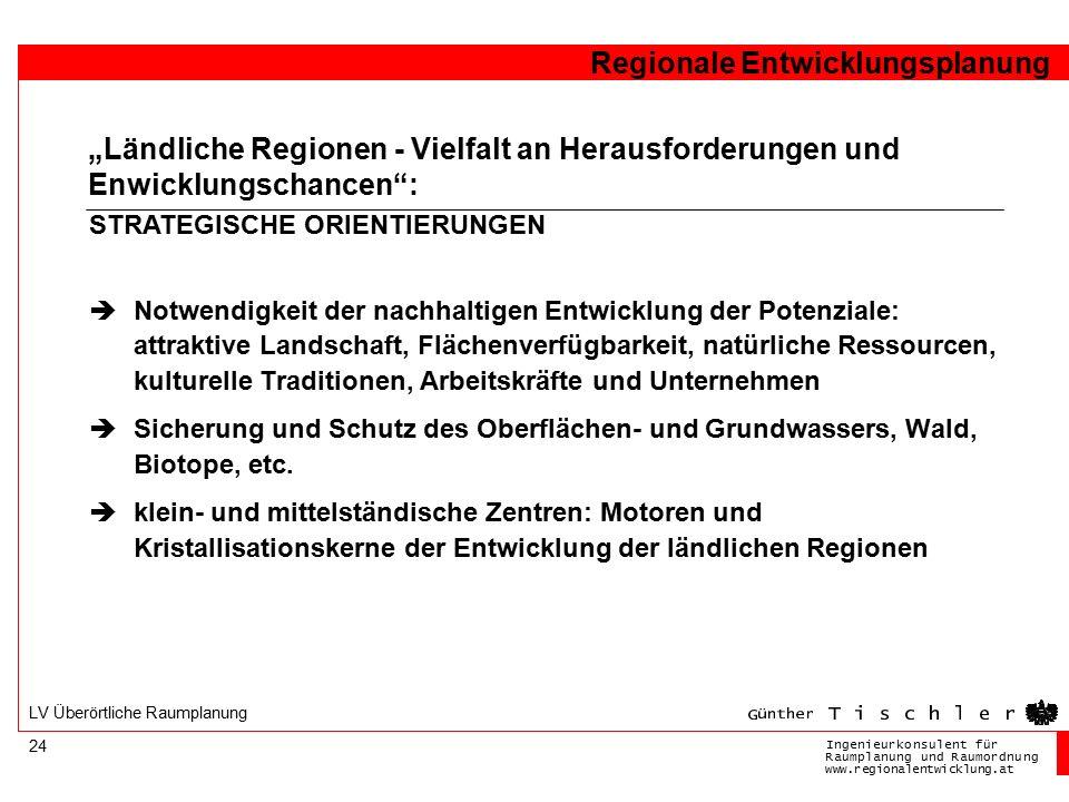 Ingenieurkonsulentfür RaumplanungundRaumordnung www.regionalentwicklung.at Regionale Entwicklungsplanung 24 LV Überörtliche Raumplanung  Notwendigkei