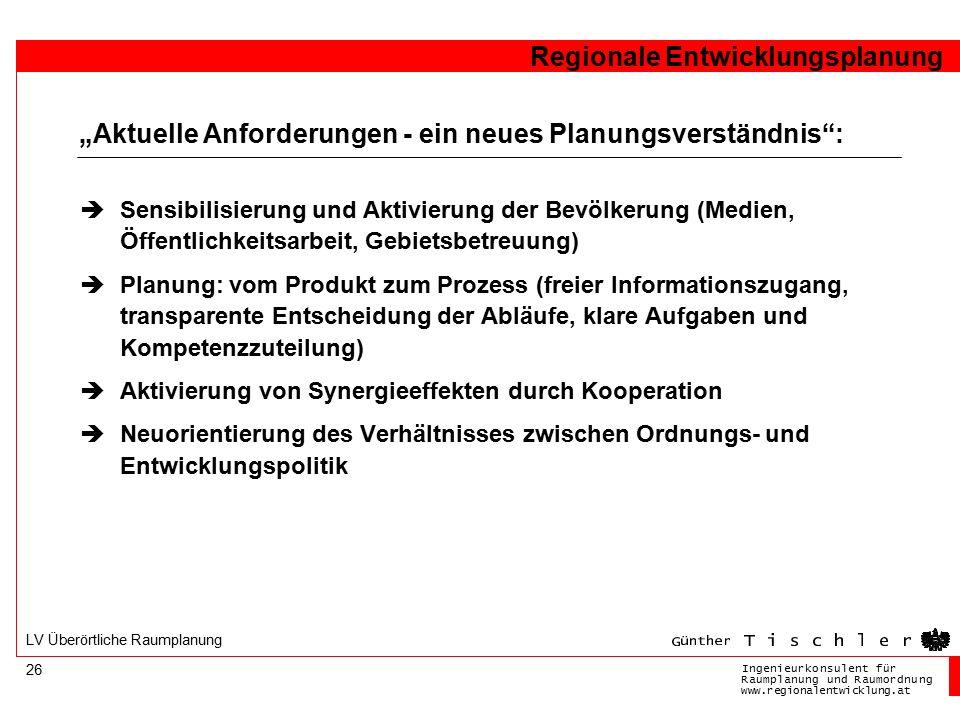 Ingenieurkonsulentfür RaumplanungundRaumordnung www.regionalentwicklung.at Regionale Entwicklungsplanung 26 LV Überörtliche Raumplanung  Sensibilisie