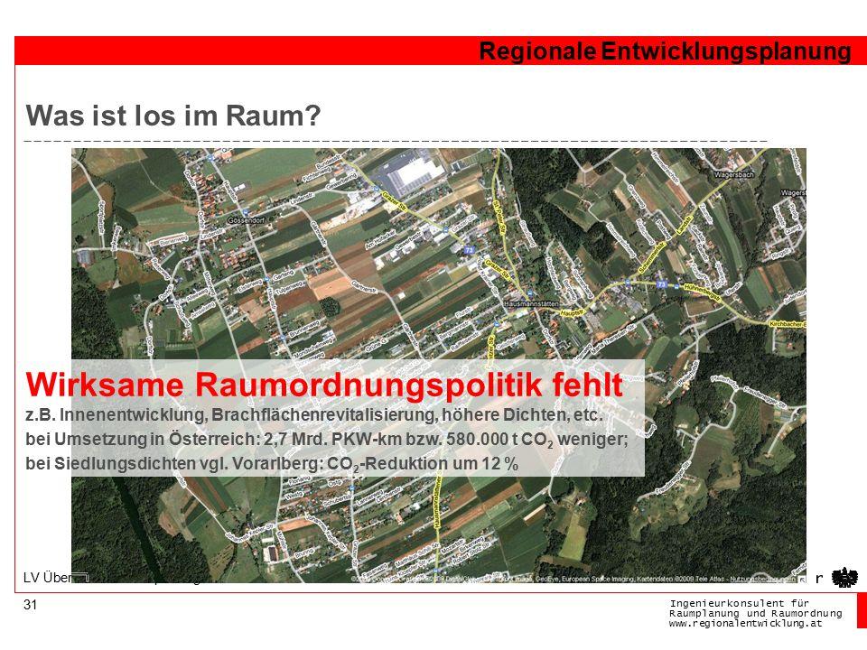 Ingenieurkonsulentfür RaumplanungundRaumordnung www.regionalentwicklung.at Regionale Entwicklungsplanung 31 LV Überörtliche Raumplanung Was ist los im Raum.