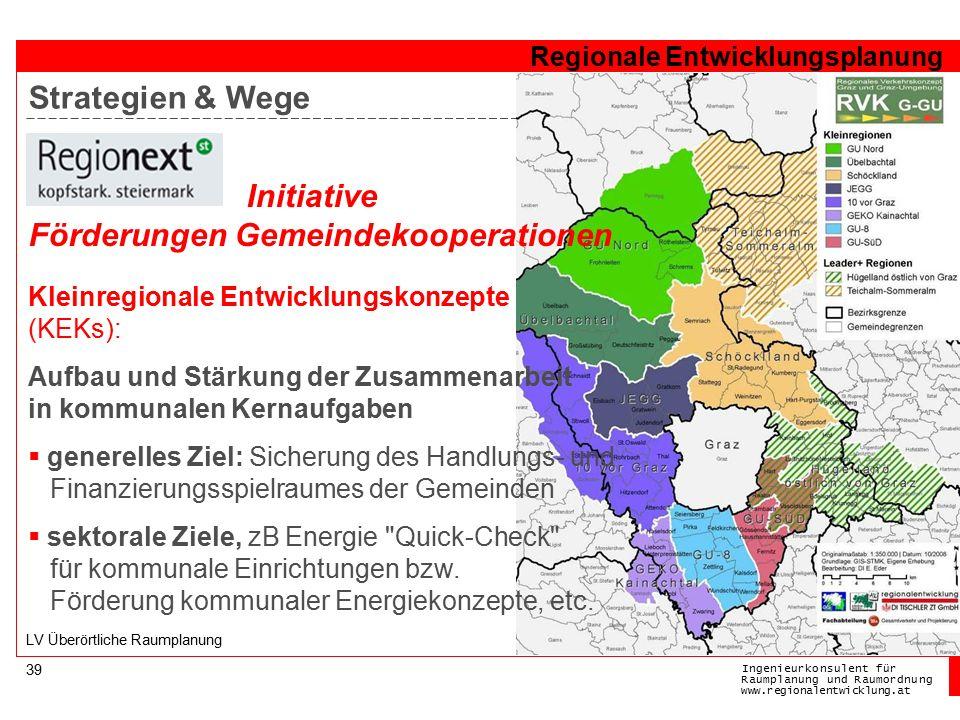 Ingenieurkonsulentfür RaumplanungundRaumordnung www.regionalentwicklung.at Regionale Entwicklungsplanung 39 LV Überörtliche Raumplanung Kleinregionale