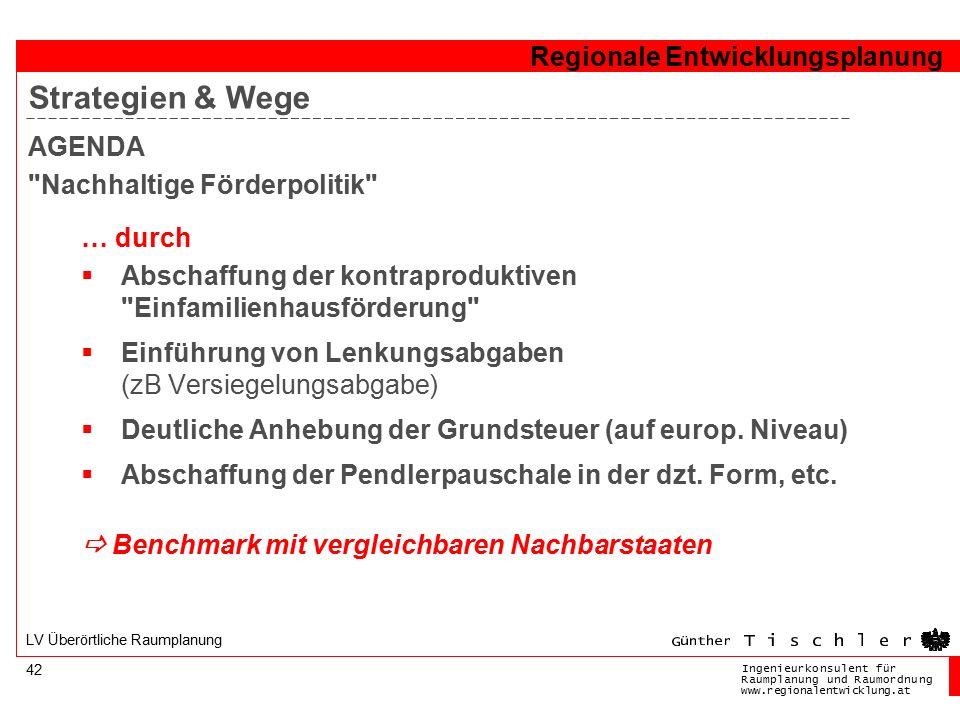 Ingenieurkonsulentfür RaumplanungundRaumordnung www.regionalentwicklung.at Regionale Entwicklungsplanung 42 LV Überörtliche Raumplanung AGENDA