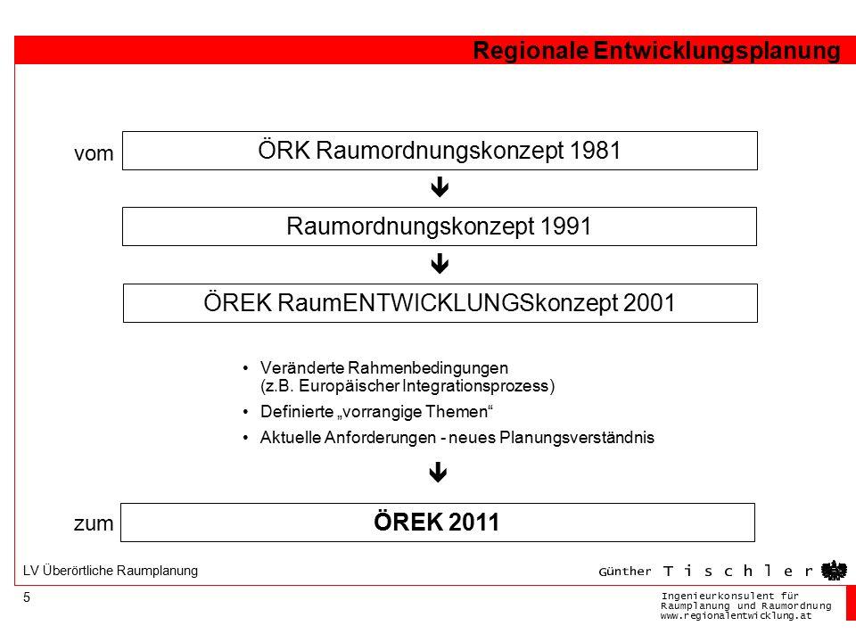 Ingenieurkonsulentfür RaumplanungundRaumordnung www.regionalentwicklung.at Regionale Entwicklungsplanung 5 LV Überörtliche Raumplanung ÖRK Raumordnung