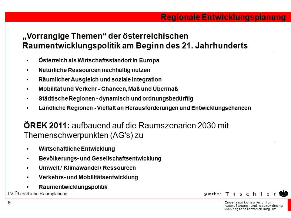 Ingenieurkonsulentfür RaumplanungundRaumordnung www.regionalentwicklung.at Regionale Entwicklungsplanung 6 LV Überörtliche Raumplanung Österreich als