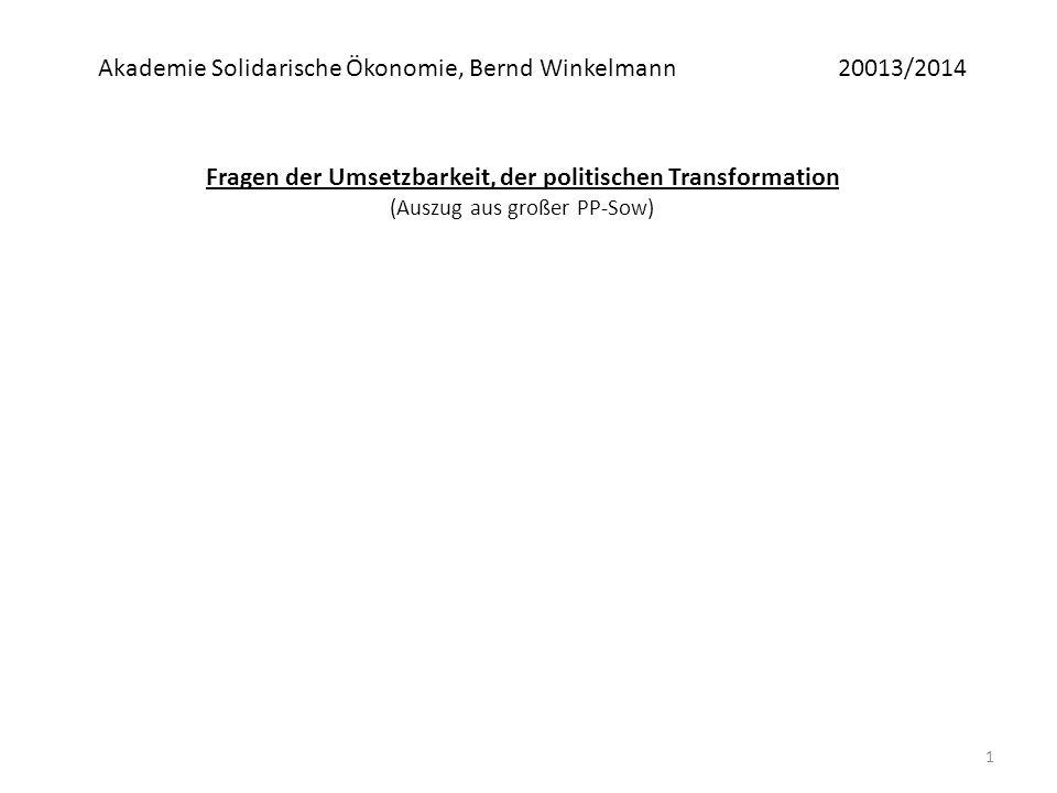 1 Fragen der Umsetzbarkeit, der politischen Transformation (Auszug aus großer PP-Sow) Akademie Solidarische Ökonomie, Bernd Winkelmann20013/2014