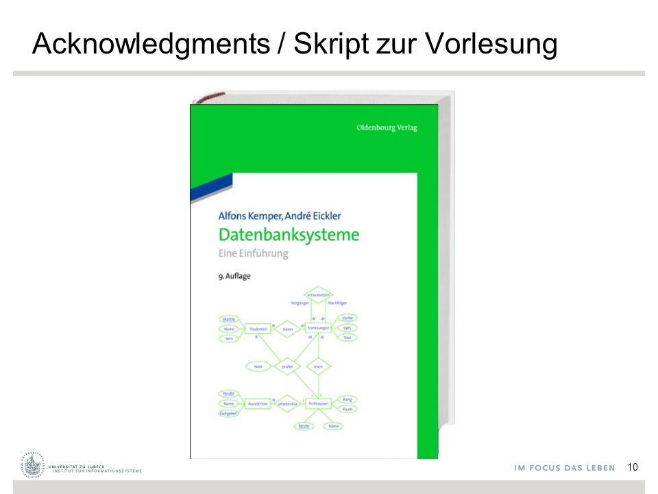 Acknowledgments / Skript zur Vorlesung 10