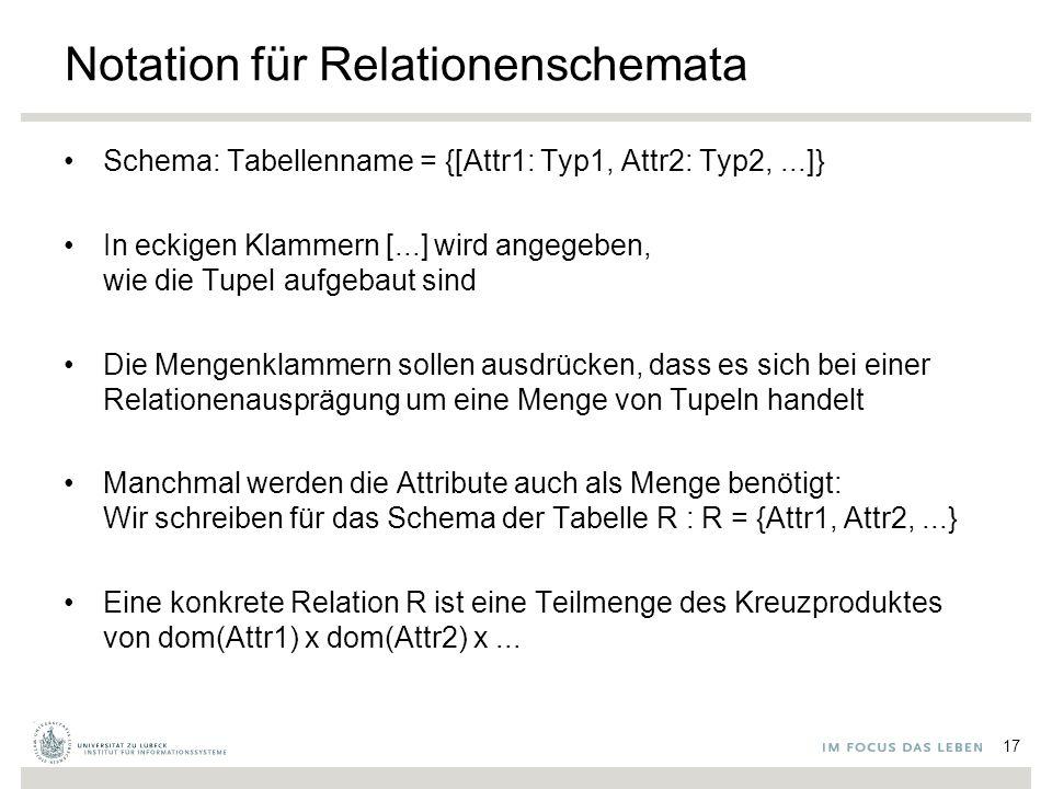 Notation für Relationenschemata Schema: Tabellenname = {[Attr1: Typ1, Attr2: Typ2,...]} In eckigen Klammern [...] wird angegeben, wie die Tupel aufgebaut sind Die Mengenklammern sollen ausdrücken, dass es sich bei einer Relationenausprägung um eine Menge von Tupeln handelt Manchmal werden die Attribute auch als Menge benötigt: Wir schreiben für das Schema der Tabelle R : R = {Attr1, Attr2,...} Eine konkrete Relation R ist eine Teilmenge des Kreuzproduktes von dom(Attr1) x dom(Attr2) x...