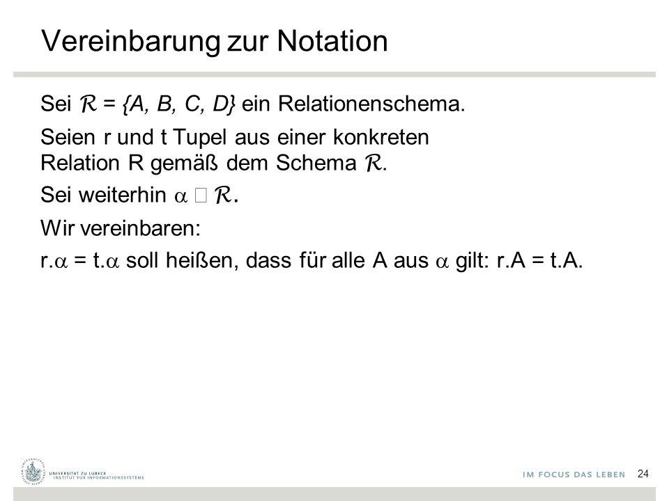 Vereinbarung zur Notation Sei R = {A, B, C, D} ein Relationenschema.