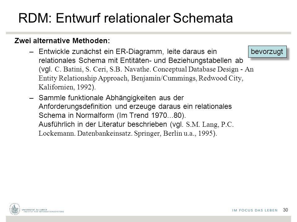 bevorzugt RDM: Entwurf relationaler Schemata Zwei alternative Methoden: –Entwickle zunächst ein ER-Diagramm, leite daraus ein relationales Schema mit Entitäten- und Beziehungstabellen ab (vgl.