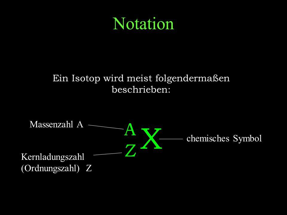 Die Zerfallsgeschwindigkeit hängt vom radioaktiven Isotop ab.