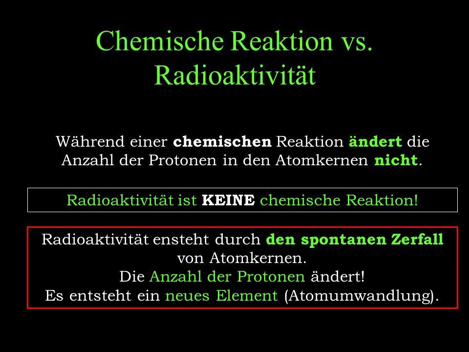 Nachweis von radioaktiver Strahlung Während jeder radioaktiven Reaktion wird ein Teilchen oder Strahlung freigesetzt, die mit einem Geiger-Müller-Zählrohr und einem elektronischen Zählgerät nachgewiesen werden können.