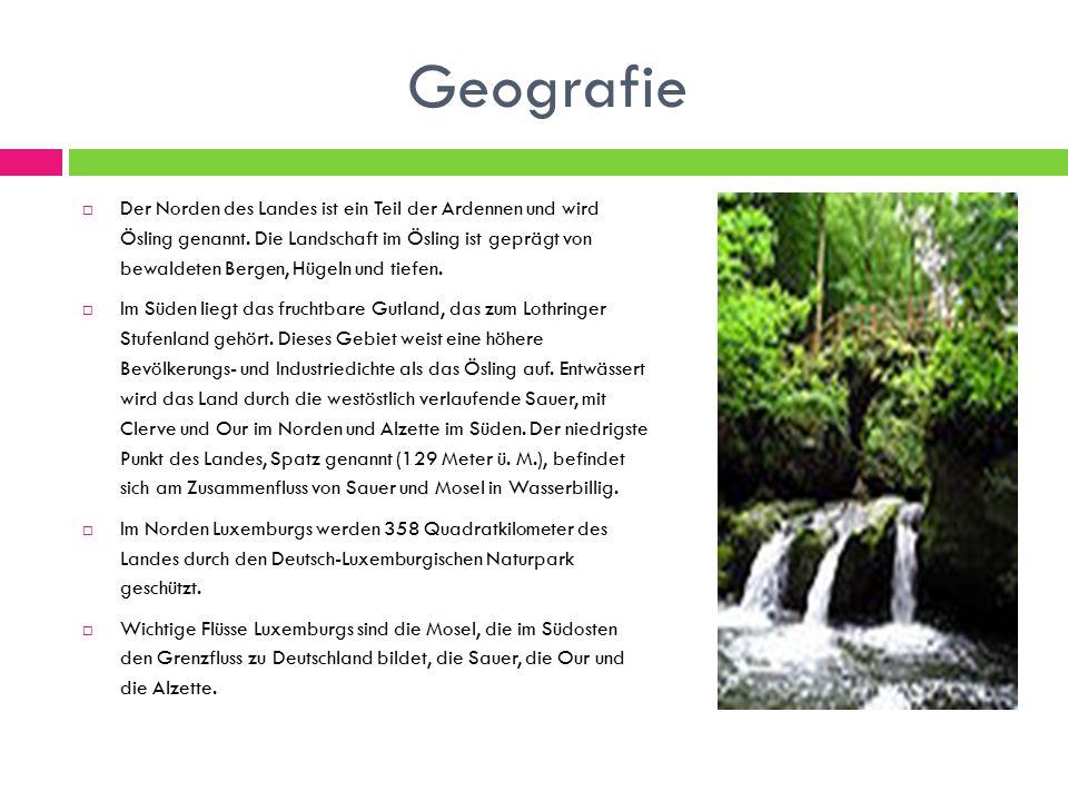 Geografie  Der Norden des Landes ist ein Teil der Ardennen und wird Ösling genannt.