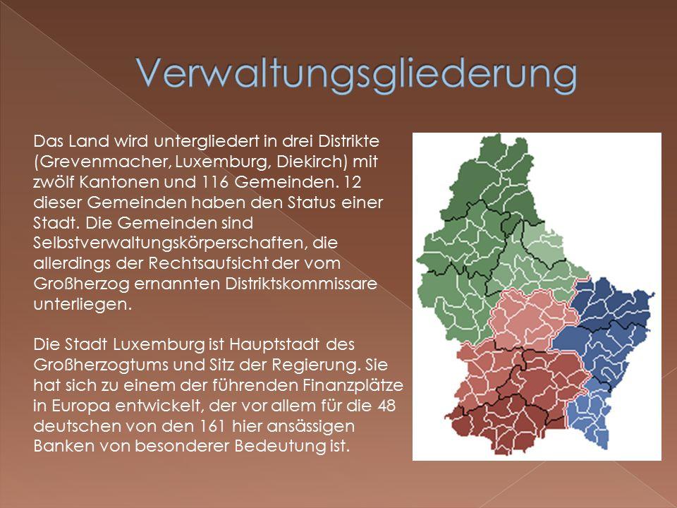 Das Land wird untergliedert in drei Distrikte (Grevenmacher, Luxemburg, Diekirch) mit zwölf Kantonen und 116 Gemeinden.