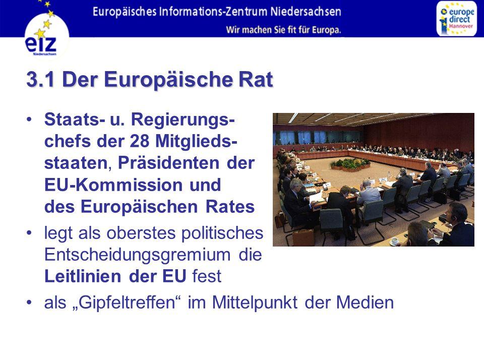 3.1 Der Europäische Rat Staats- u.